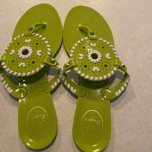 Lime green jack roger sandals!